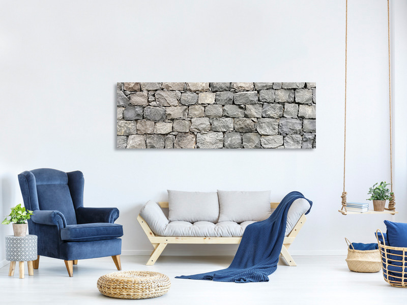 Panoramic Canvas Print Gray stone wall