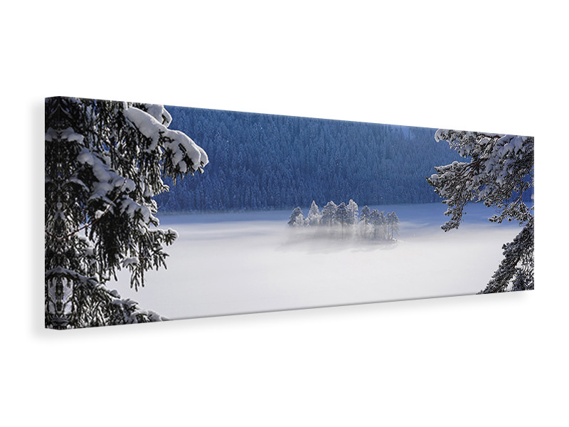 Panoramic Canvas Print Fog Over Frozen Lake