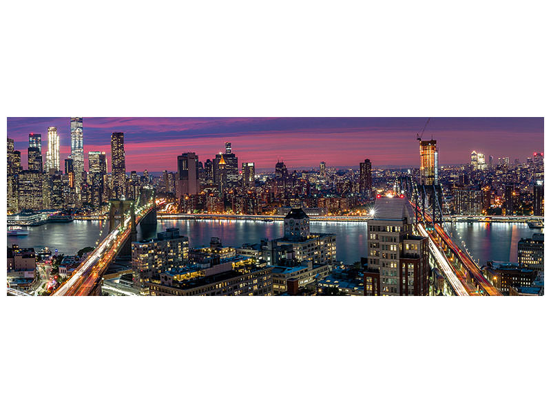Panoramic Canvas Print Manhattan Skyline During Beautiful Sunset
