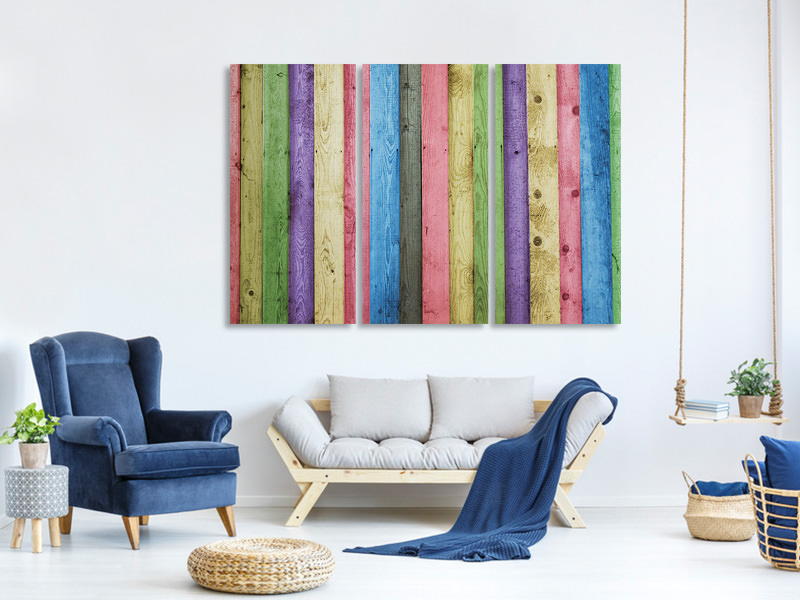 3 Piece Canvas Print Colorful wood