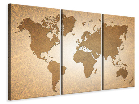 3 Piece Canvas Print Map Of The World In Vintage
