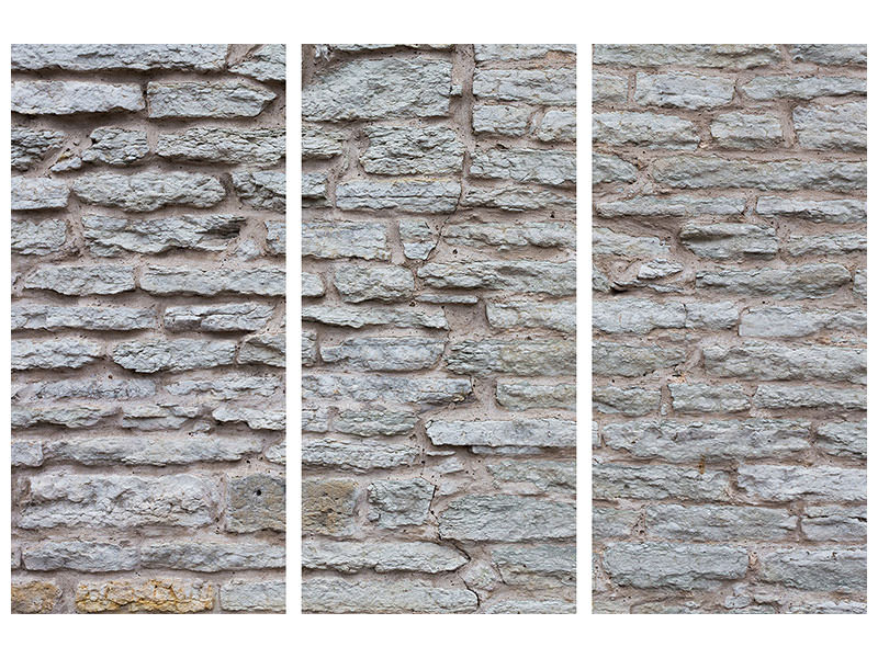 3 Piece Canvas Print Stone Wall