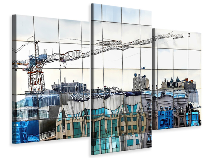 Modern 3 Piece Canvas Print New City In Old City