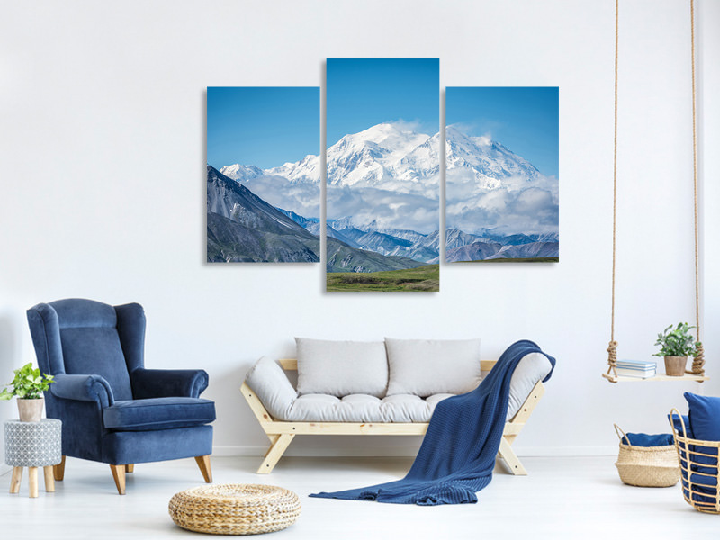 Modern 3 Piece Canvas Print Mt Denali