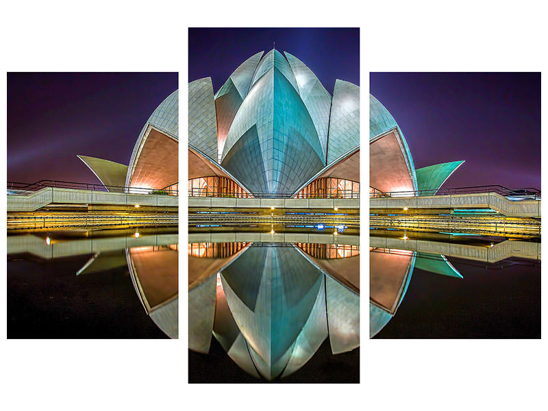 Modern - 3-osainen Canvastaulu The Lotus Temple
