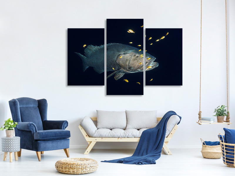 Modern 3 Piece Canvas Print Giant Grouper