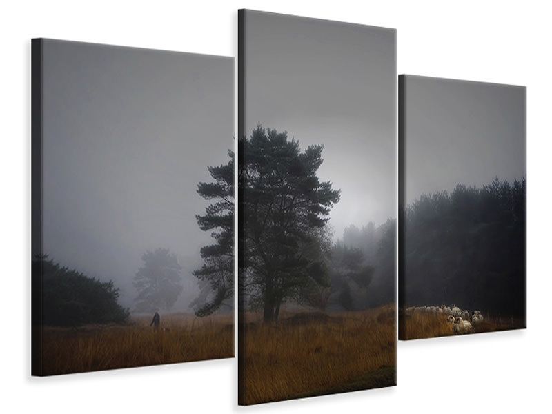 Modern 3 Piece Canvas Print Foggy Memory Of The Past