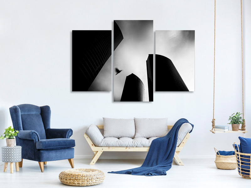 Modern 3 Piece Canvas Print The Lost Bird-Homage For Andra KertaSz