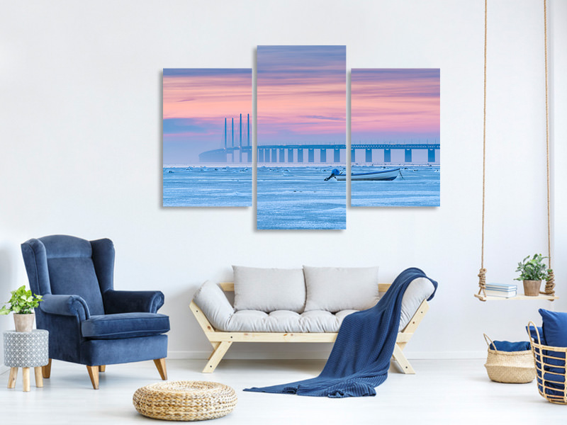 Modern 3 Piece Canvas Print Frozen Sea