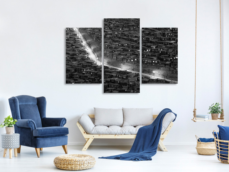 Modern 3 Piece Canvas Print Night Walk