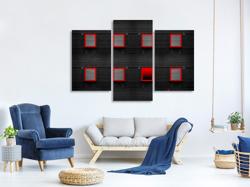 Modern 3 Piece Canvas Print Red Frames