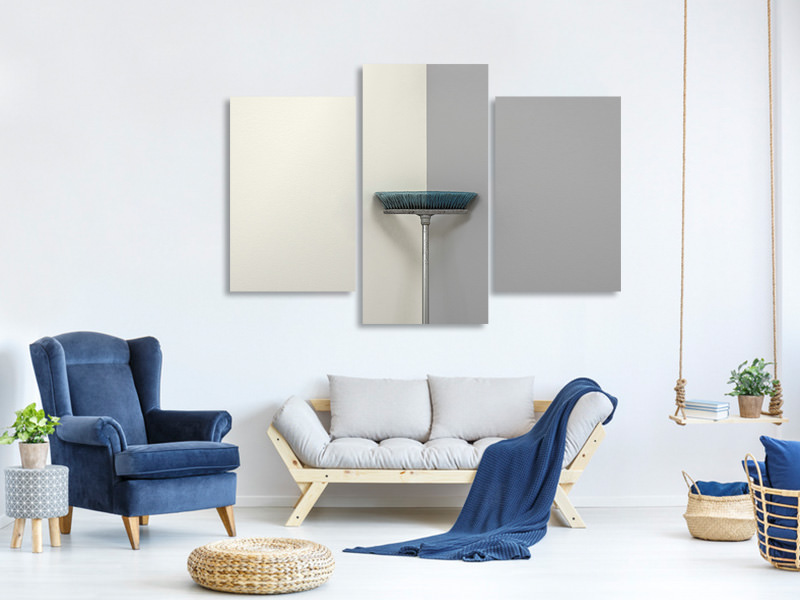 Modern 3 Piece Canvas Print Blue Brush