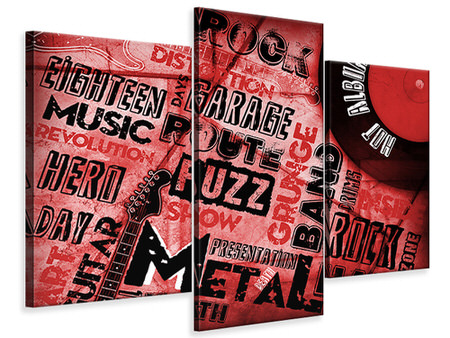 Modern 3 Piece Canvas Print Writings Music Grunge