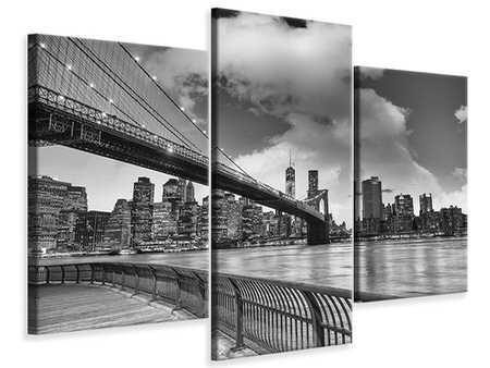 Modern 3 Piece Canvas Print Skyline Black And White Photography Brooklyn Bridge NY