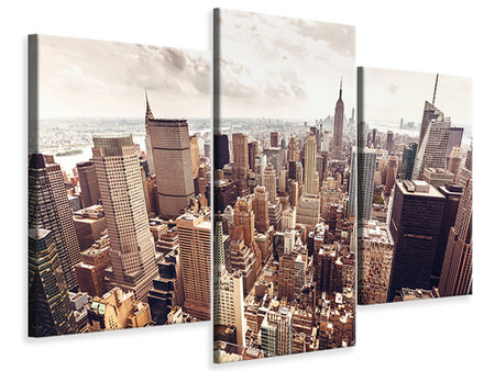 Modern 3 Piece Canvas Print Skyline Over The Roofs Of Manhattan