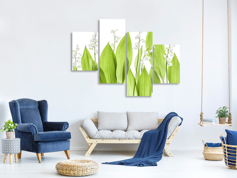 Modern 4 Piece Canvas Print Lily Of The Valley