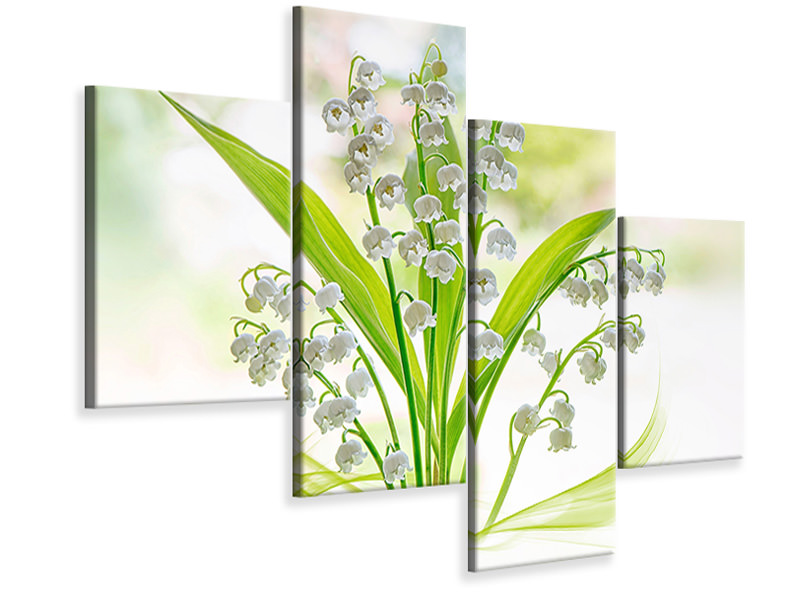 Modern 4 Piece Canvas Print Lily Of The Valley II