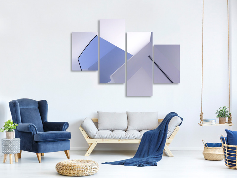 Modern 4 Piece Canvas Print Interiour Lines