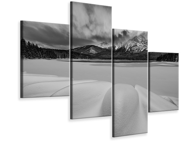 Modern 4 Piece Canvas Print Pyramid Lake In Winter