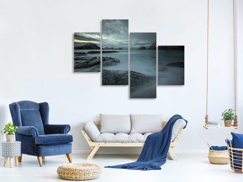 Modern 4 Piece Canvas Print A Look From The Past Or From The Future