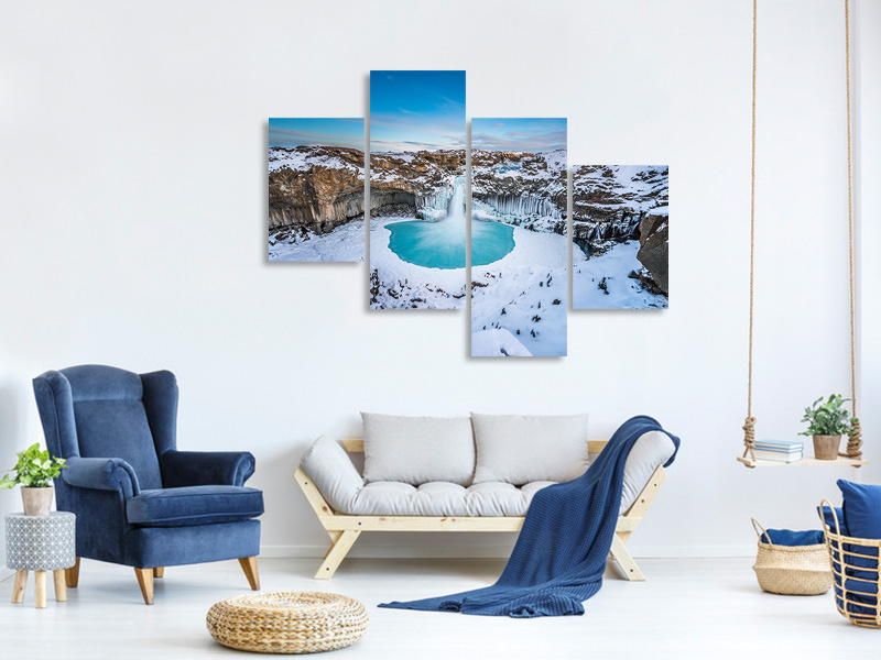 Modern 4 Piece Canvas Print Aldeyjarfoss - The Wide View