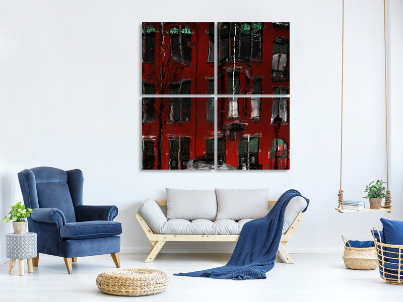 4 Piece Canvas Print Red House Reflections