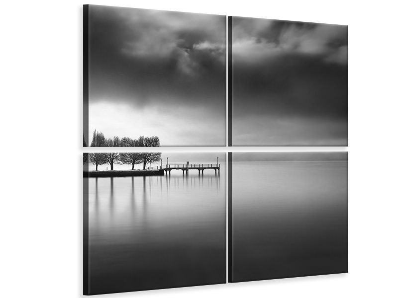 4 Piece Canvas Print Lake View With Trees