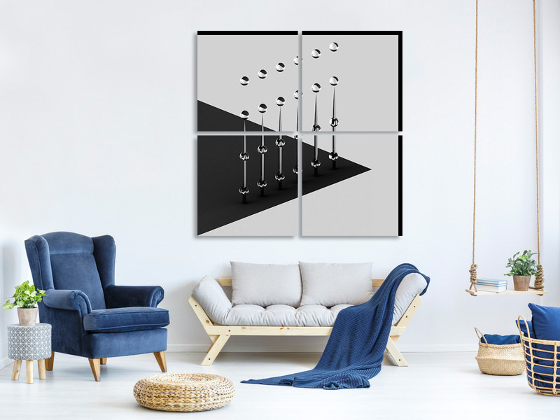 4 Piece Canvas Print Drops On Needles