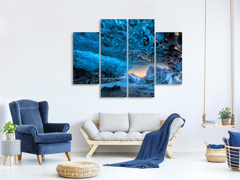 4 Piece Canvas Print Crystal Cave