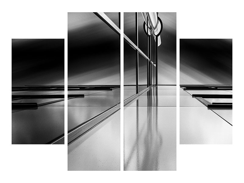 4 Piece Canvas Print Lines And Reflections
