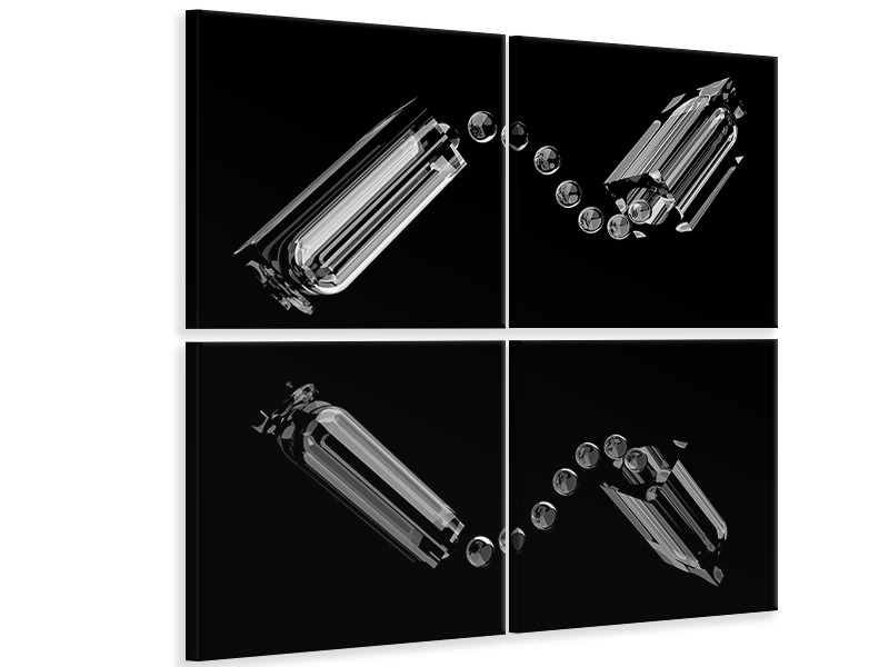 4 Piece Canvas Print Drops And Reflection