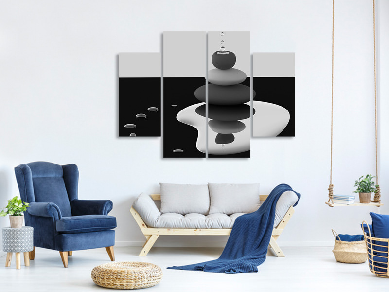 4 Piece Canvas Print Balanced Drops