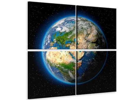 4 Piece Canvas Print The Earth As A Planet