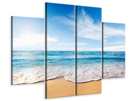 4 Piece Canvas Print Waves In The Sand