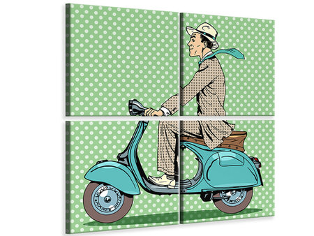 4 Piece Canvas Print Pop Art Vespa Driver