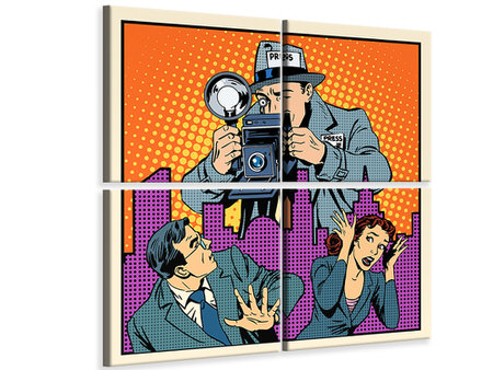 4 Piece Canvas Print Pop Art Paparazzi