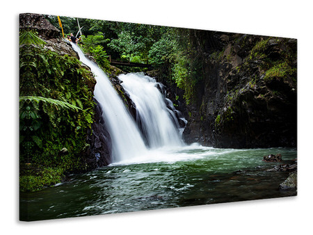 Canvas print Waterfall in the evening light