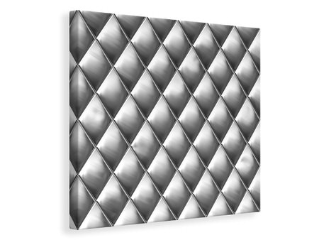 Canvas print 3D Lozenges Silver-Grey