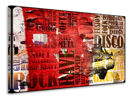 Canvas print Music Text In Grunge Style