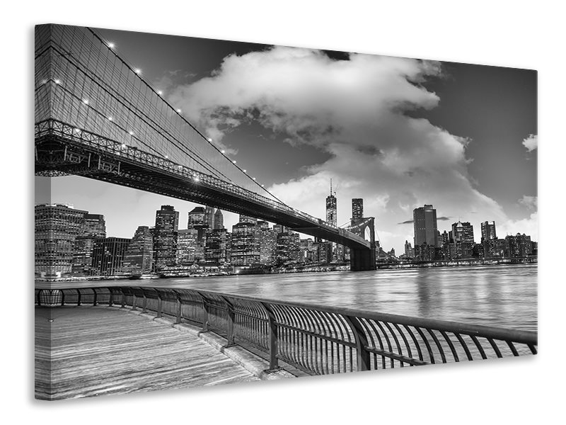 Canvastaulu Skyline Black And White Photography Brooklyn Bridge NY