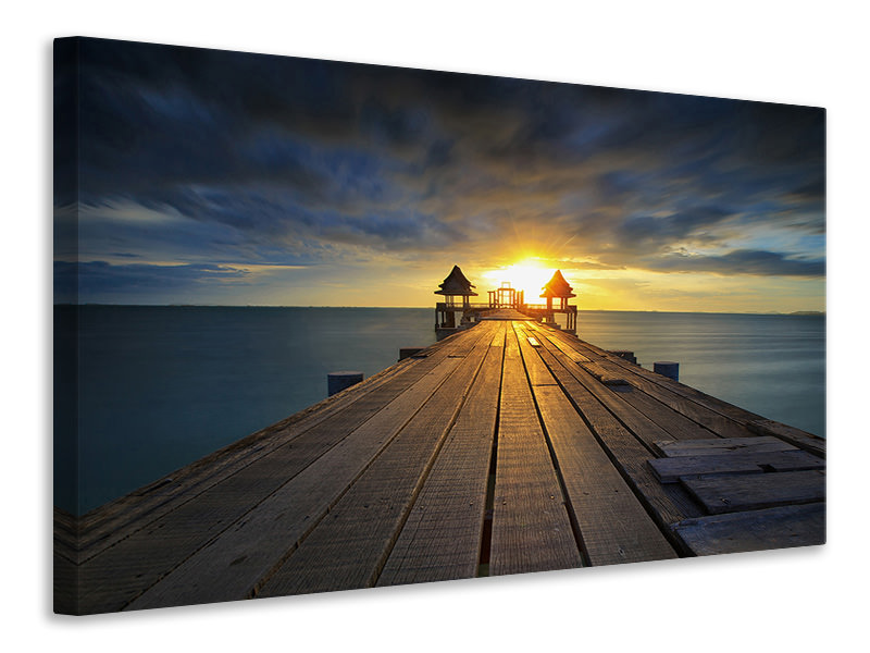Canvas print Sunset At The Wooden Bridge